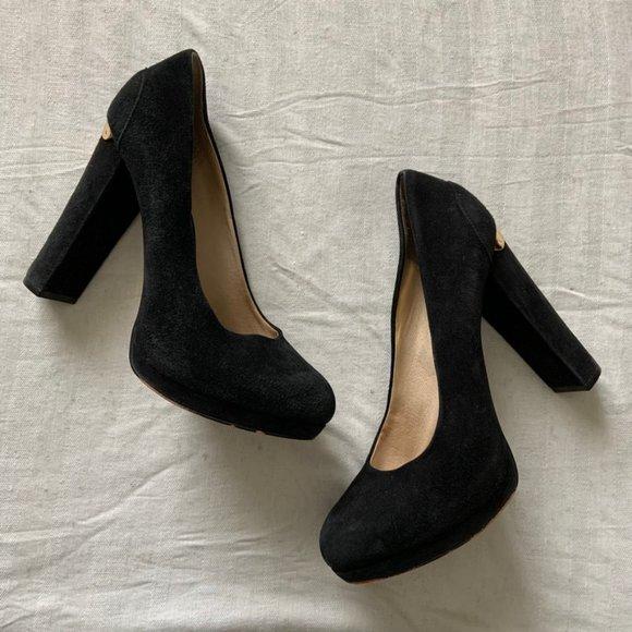 Michael Kors black suede block heel platform pumps